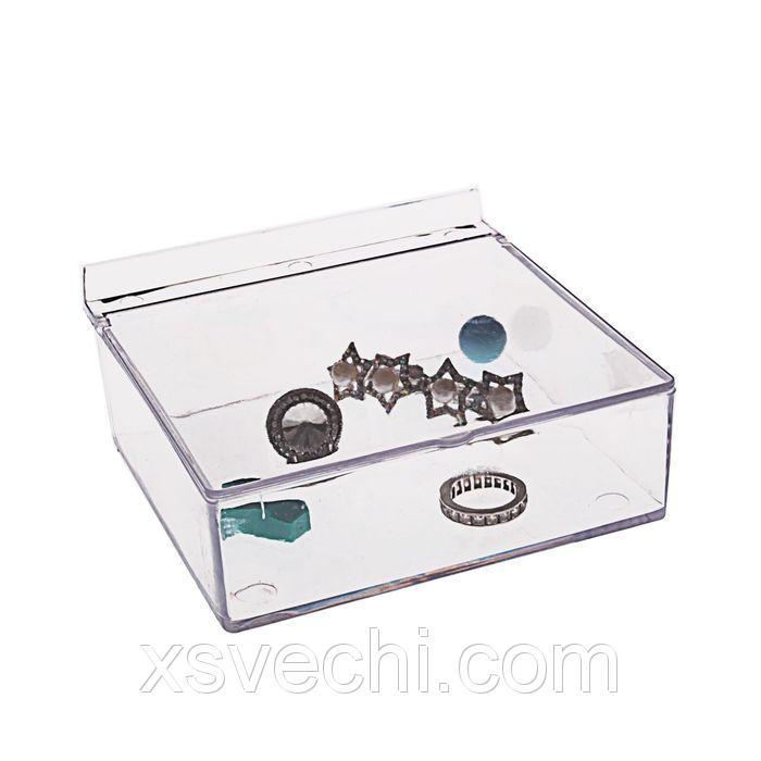 Короб для хранения мелочей, с крышкой, 11.5*11,5*4.5, оргстекло, цвет прозрачный