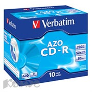 Носители информации Verbatim CD-R 700Mb 52x Jewel/10 43327 Crystal