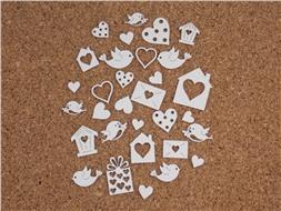 Набор чипбордов Птички, сердечки, домики