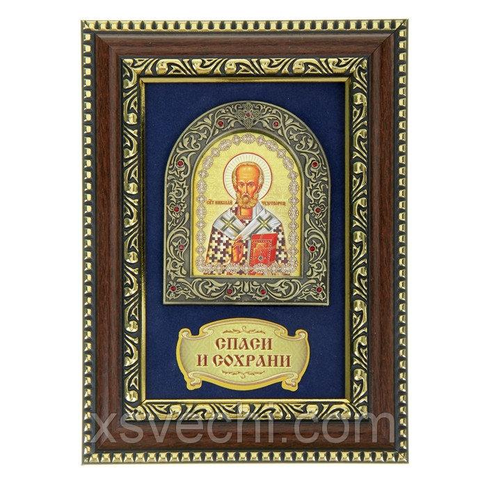 Икона Николая Чудотворца в деревянной рамке
