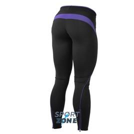 Спортивные лосины Better bodies Fitness long tight, чёрные с фиолетовым