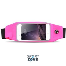 Сумка-чехол спортивная на талию водонепроницаемая, универсальный чехол для смартфонов. Розовая.
