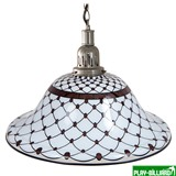 Лампа на один плафон «Memory» (серебристая чашка, черно-белый плафон D44см), интернет-магазин товаров для бильярда Play-billiard.ru