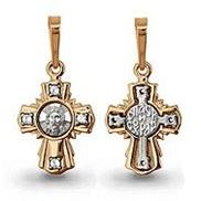 Крест арт 20739А золотой литьё с белым золотом и вставками