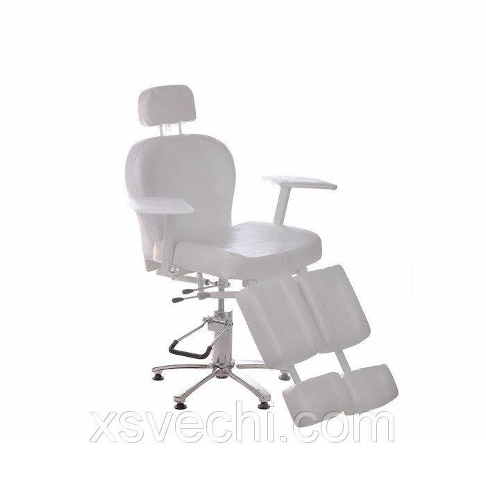 Кресло педикюрное, гидравлика, высота 52-64, цвет белый, хром  УЦЕНКА