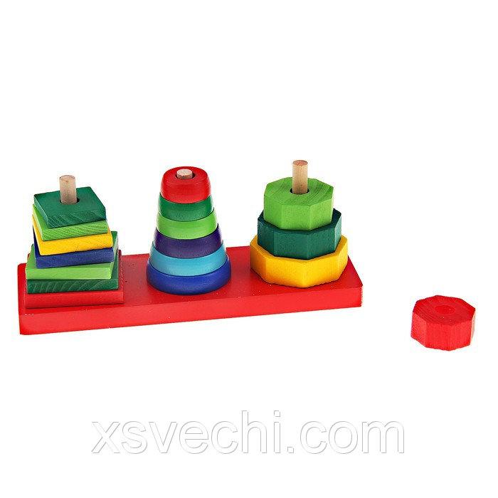 Пирамидка, фигуры на основании, 3 шт., (квадрат, круг, многоугольник)