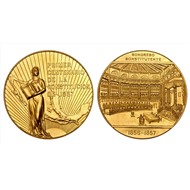 """Мексика. Золотая медаль """"100 лет Конституции"""". (50 песо) 1957 год."""