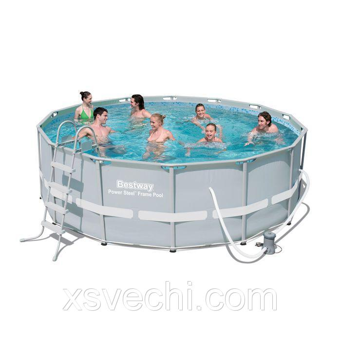 Бассейн каркасный Frame Pool Set, 427 х 107 см, фильтр-насос, лестница, тент, подстилка