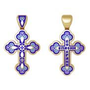 """Крест """"Спаси и сохрани"""" № 19.010 синяя эмаль, серебро 925° с позолотой"""