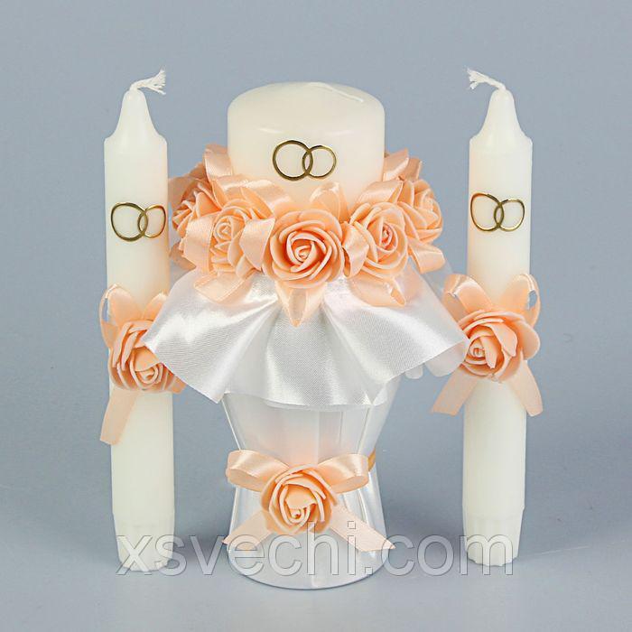 """Комплект свечей """"Семейный очаг+ 2 свечи для родителей"""" цветок персик"""