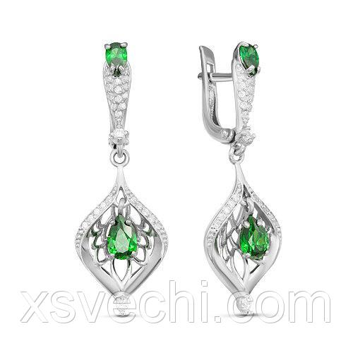 Серебряные серьги с фианитами зеленого цвета 095