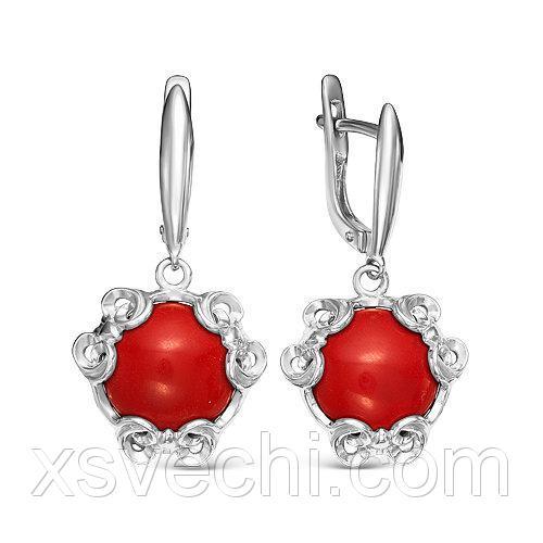Серебряные серьги с красными кораллами 623