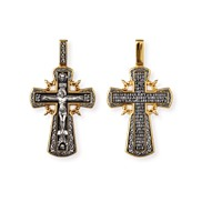 """Крест """"Распятие Христово. Молитва """"Да воскреснет Бог"""""""", серебро 925° с позолотой"""