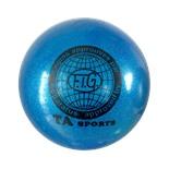 Мяч для художественной гимнастики RGB-102, 19 см, синий, с блестками