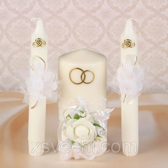 """Комплект свечей элит в коробке """"Семейный очаг""""+2 свечи для родителей, белый"""