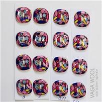 Набор керамических пуговиц 18х18 мм, Разноцвет, 4 шт., арт. 03