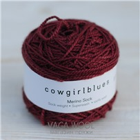 Пряжа Merino Sock solid Марсала, 160м/50г, Cowgirlblues, Marsala