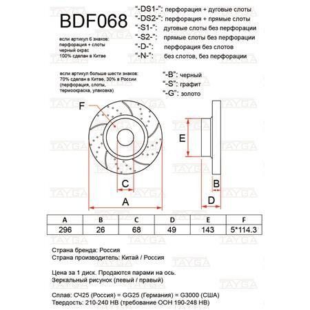 BDF068-D-G - ПЕРЕДНИЕ