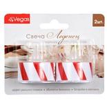 Свеча чайная светодиодная Vegas Леденец с батарейкой 2 шт 3,8х4 см, 24V 55048