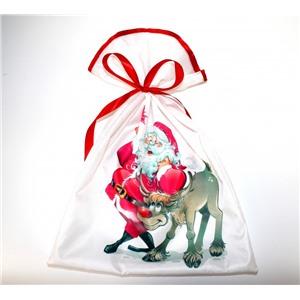 Новогодний мешок для конфет и подарков 30х40 см. Дед Мороз с оленем