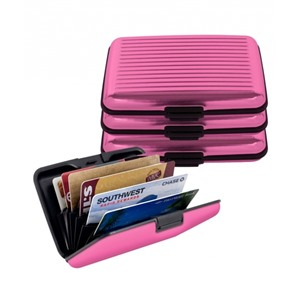Алюминиевый рифленый кошелек Aluma Wallet (Алюма Валет) цвет розовый, оригинал в коробочке.