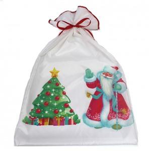 Новогодний мешок для подарков 40х70 см. Дед Мороз и ёлка