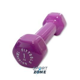 Гантель в виниловой оболочке 1 кг (Цвет - ярко пурпурный)