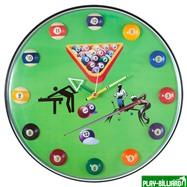 Weekend Часы настенные «12 шаров» D32 см (зеленые), пластик, интернет-магазин товаров для бильярда Play-billiard.ru. Фото 1