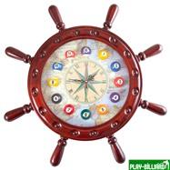 Weekend Часы настенные «Штурвал» 50 см х 50 см, деревянные, интернет-магазин товаров для бильярда Play-billiard.ru. Фото 1