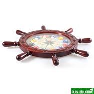 """Часы настенные """"Штурвал"""" 50 см х 50 см, деревянные, интернет-магазин товаров для бильярда Play-billiard.ru. Фото 3"""