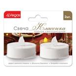 Свеча чайная светодиодная Vegas Классика c батарейкой 2 шт 3,8х4 см, 24V 55047