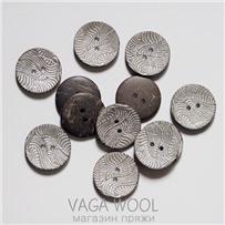 Пуговица 30 мм, Серебро, кокос, арт. ПК Е-67