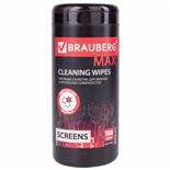 Салфетки влажные для экранов и оптики Brauberg Max 100 шт в тубе 513284