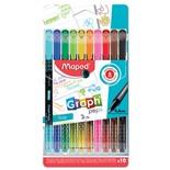 Ручки капиллярные трехгранные Maped Graph'Peps линия 0,4 мм 10 цветов 749050