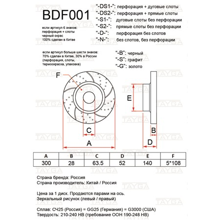 BDF001-D-G - ПЕРЕДНИЕ