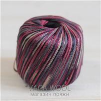 Пряжа Milleluci Color цвет Бордово-бежевый 05, хлопок с вискозой,  137м/50гр Miss Tricot Filati